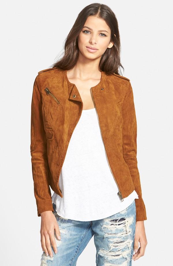 Nordstrom Blanknyc Suede Leather Jacket Cognac-1134350-10855350