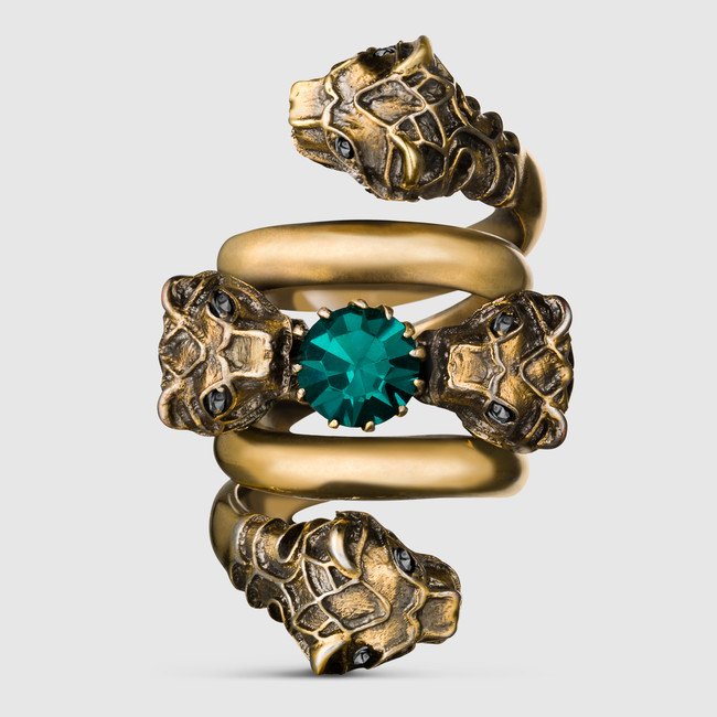 707ave-gucci-cruise-2016-collection-Light-Double-wrap-ring-with-tiger-heads