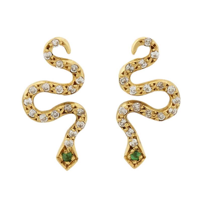 ILEANA MAKRI Little Snake Serpent Studs Gold
