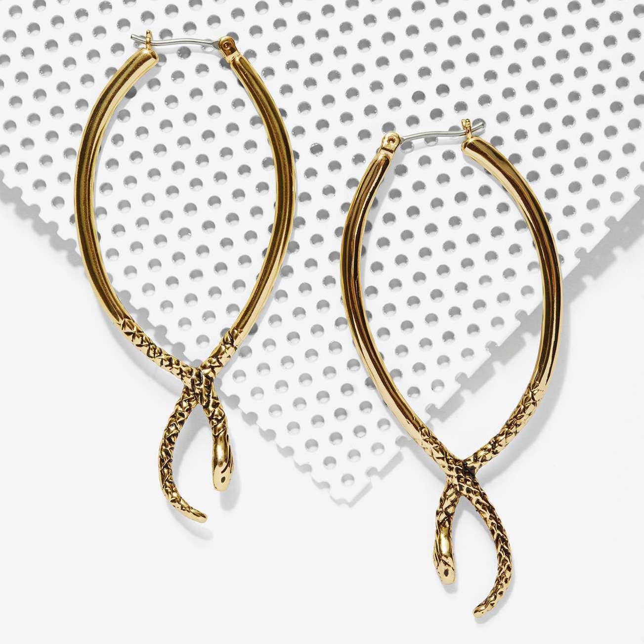 JENNY BIRD 18k Gold Shakti Snake Serpent Hoop Earrings