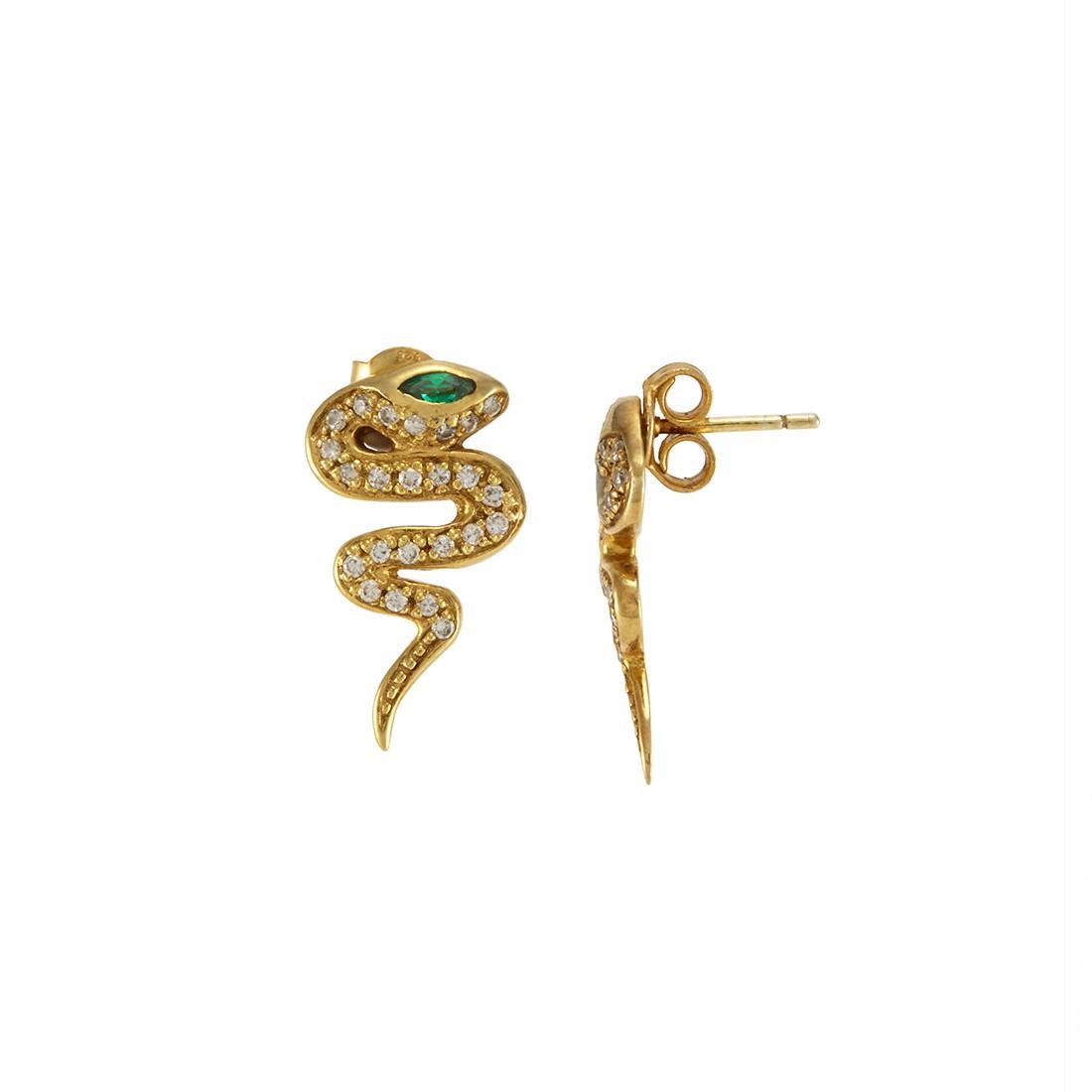MELINDA MARIA Snake Serpent Pave Studs Gold