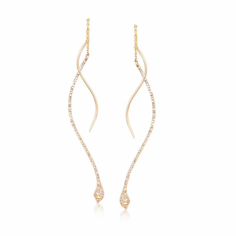 ROSS SIMONS Diamond Snake-serpent-drop Earrings Yellow Gold