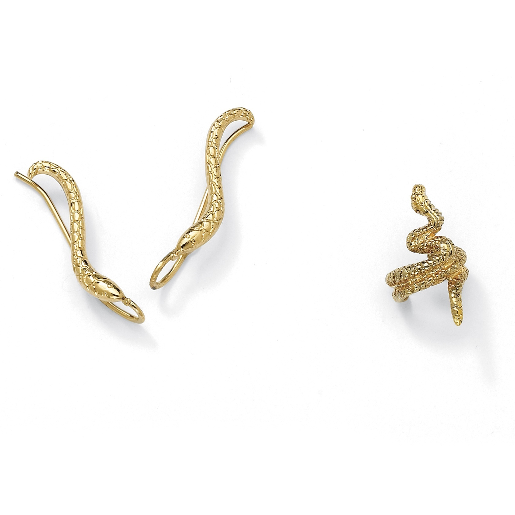 palmbeach-Toscana-Collection-Gold-Over-Silver-Snake-Diamond-cut-Ear-Pins-and-Cuff-Set