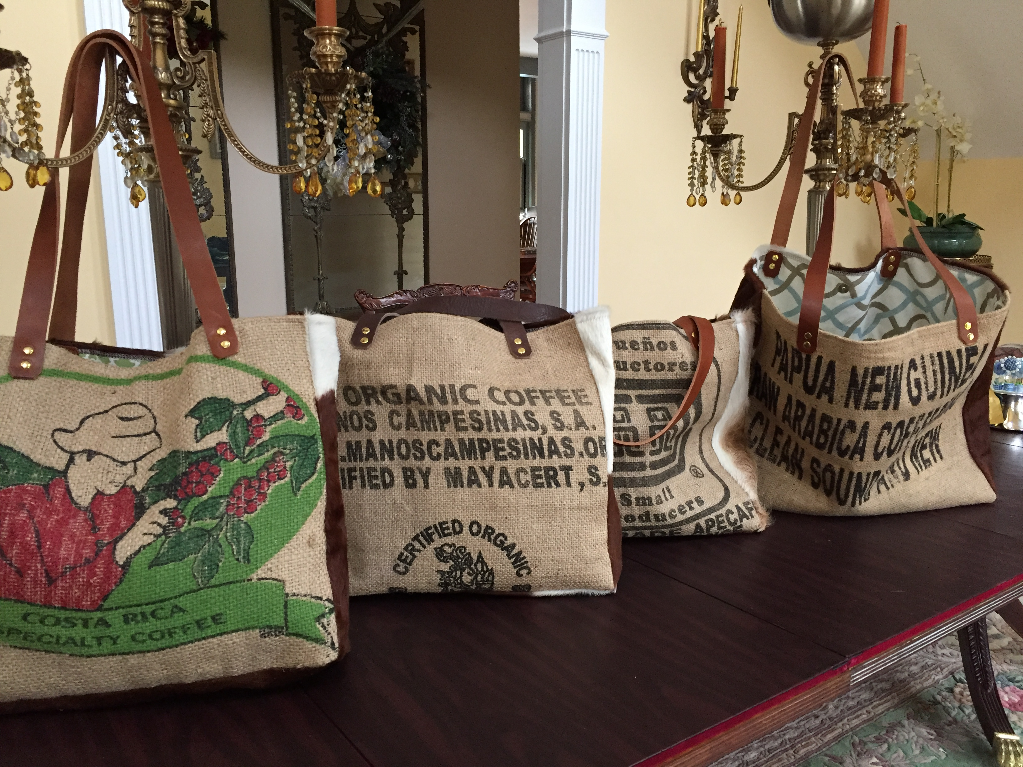 Gracie Greene Tote Bags Upcycled Burlap Coffee Bean Bags