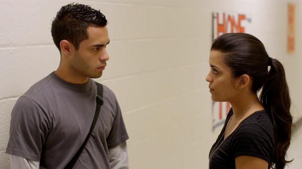 Still from East Los High Season 1. Maya (Alicia Sixtos) with love interest, Jacob (Gabriel Chavarría).