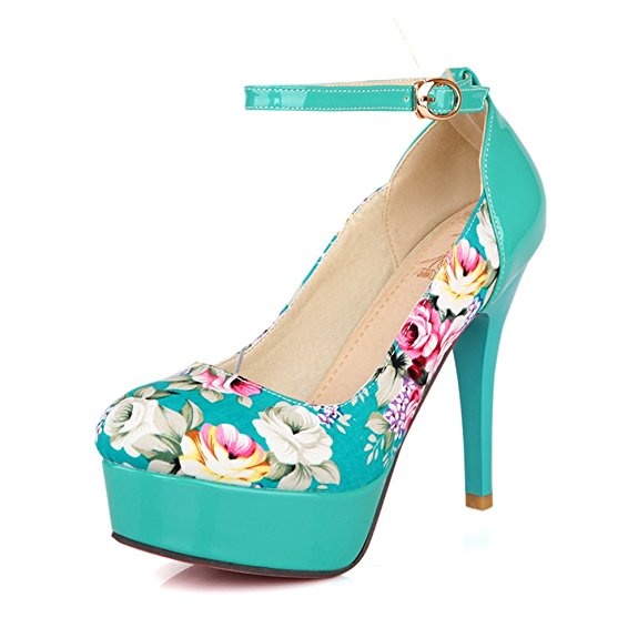 Lucksender Ladies Women's Floral Print Platform High Heel Stiletto Pumps-32.70 - 34.70